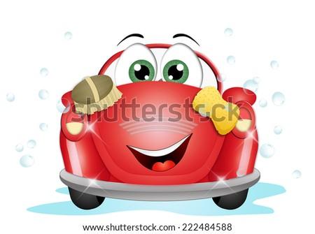 Funny car at car wash - stock photo
