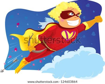 Funny card with cupid-superhero - stock photo
