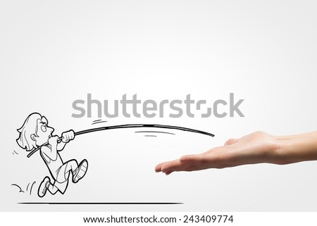 Funny caricature of man jumping with pole - stock photo