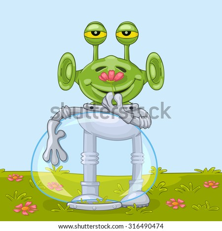 Funny cartoon alien with opened spacesuit helmet joyfully smells flower aroma. Raster version