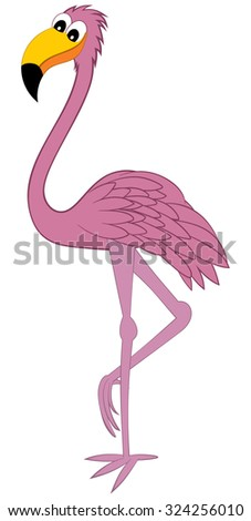 Funny Cartoon Character Rose Flamingo Standing on One Leg Over White Background. Hand Drawn in Profile View Elegant Cute Design. - stock photo
