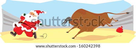 Funny cartoon displayed Santa on corrida - stock photo