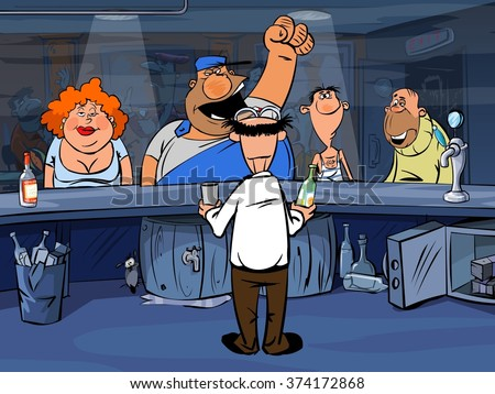 Funny cartoon drunk people in bar - stock photo