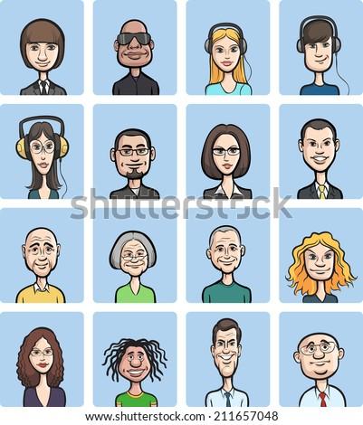 funny cartoon faces collection - stock photo