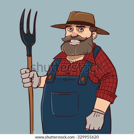 funny cartoon farmer, character, illustration - stock photo
