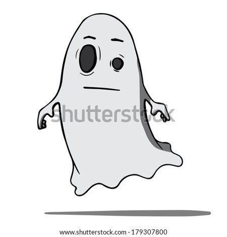 Funny cartoon ghost. Rasterized copy .Vector version of this image can also be found in portfolio. - stock photo