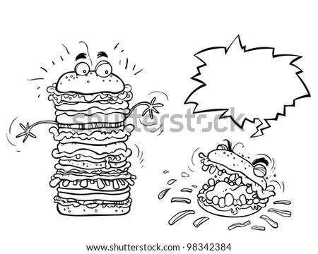 Funny Cartoon Hamburgers. the Outline version. - stock photo