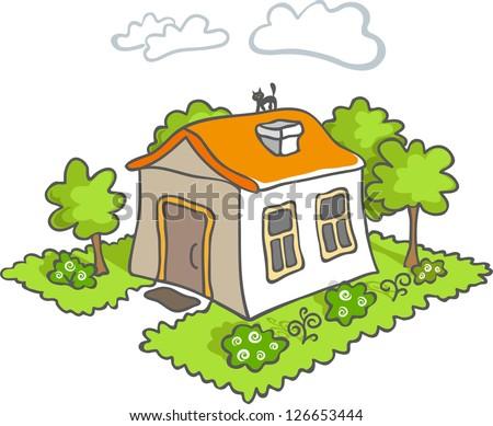 Funny cartoon house icon. Green tree. Black cat on the orange roof. - stock photo