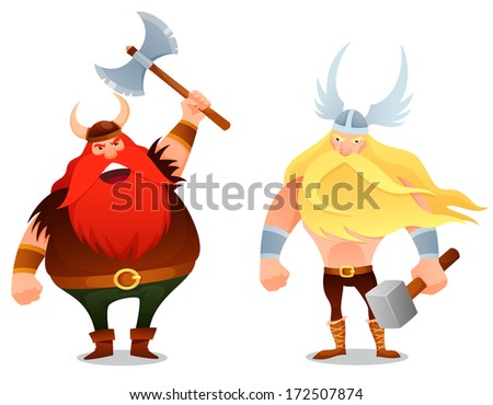 funny cartoon illustration from Scandinavian history - a furious viking warrior and the ancient god Thor - stock photo