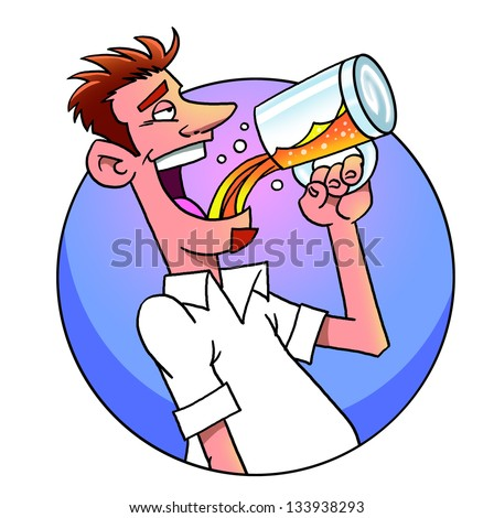 Funny cartoon man drinking  beer from  mug