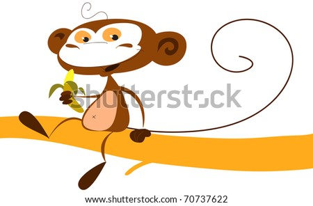 Funny cartoon monkey eating a banana on a tree branch