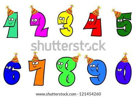 Funny cartoon numbers, raster - stock photo