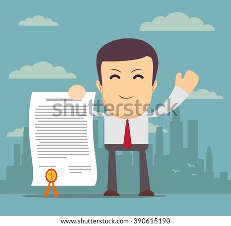 funny cartoon office worker in various poses for use in advertising, presentations, brochures, blogs, documents and forms, etc. Stock illustration. - stock photo