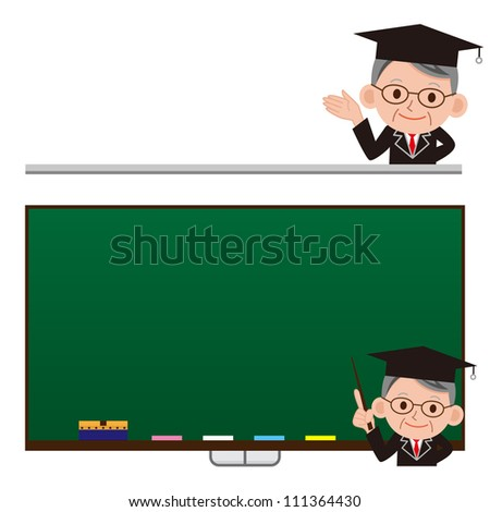 funny cartoon scientist in various poses for use in advertising, presentations, brochures, documents and forms, etc. - stock photo