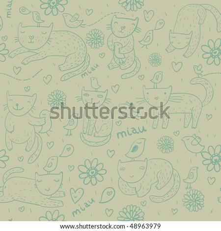 Funny cartoon seamless pattern in green - stock photo