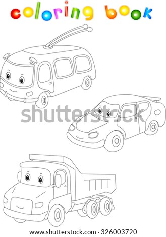Funny cartoon trolleybus, car and lorry. Coloring book for children.  - stock photo