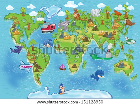 Funny cartoon world map. All continents animals - stock photo