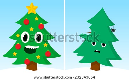 Funny cartoon Xmas card with two Christmas trees, one happy and decorated with traditional ornaments as stars and baubles and one simple and solitary with a sad facial expression - stock photo