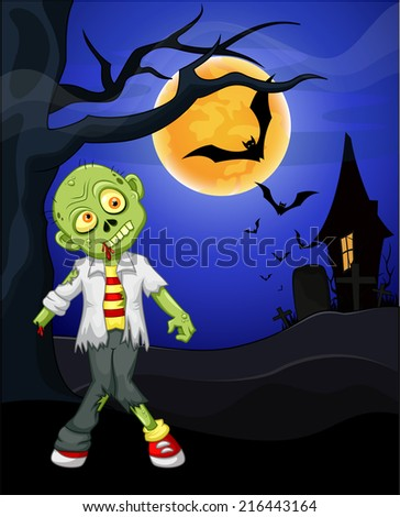 Funny cartoon zombie and bat with full moon background - stock photo
