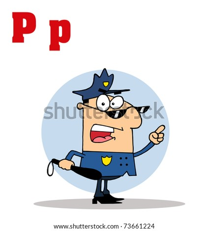 Funny Cartoons Alphabet-Cop With Letters C - stock photo
