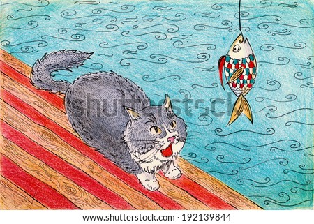 Funny cat and fish near the sea watercolor pencil painting poster textile print  - stock photo