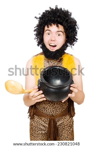 Funny caveman with pot isolated on white - stock photo