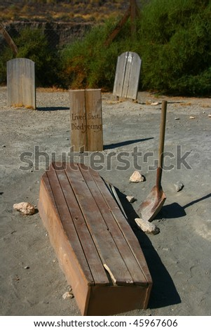 Funny cemetery in the desert of mini holliwood in Tabernas, Spain - stock photo