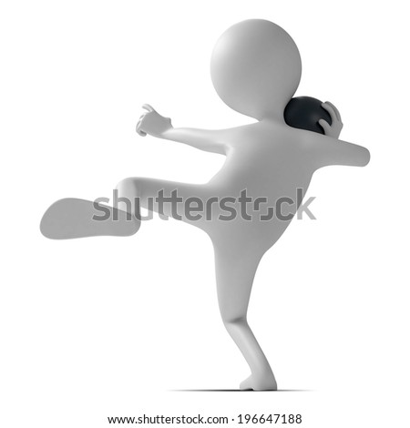 Funny character as a shot putter isolated on a white background. 3d illustration