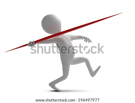 Funny character throws a spear at athletic competition. 3d illustration