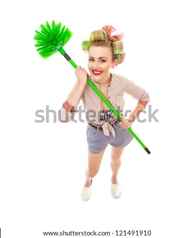 Funny cheerful smile housewife / girl with broom, isolated on white. Full length / total shot of domestic woman - stock photo