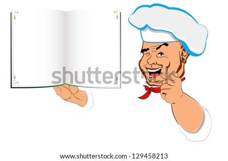 Funny Chef and menu food for Gourmet