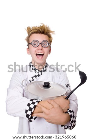 Funny chef holding pan and spoon isolated on white