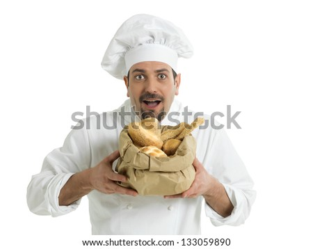 Funny chef with Italian bread - stock photo