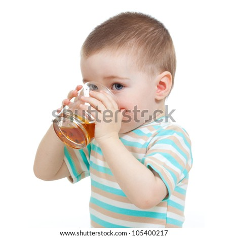 funny child drinking fruits over white background