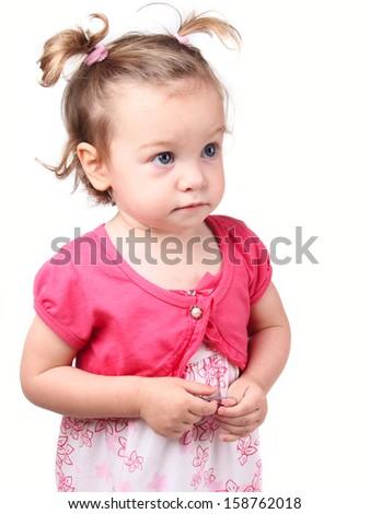 funny child girl isolated on white background - stock photo