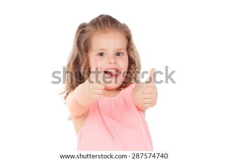 Funny child girl saying Ok isolated on a white background