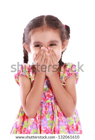 funny child girl with hands close to face over white background - stock photo
