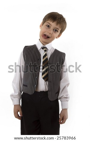 Funny child in businessman's wear isolated on white