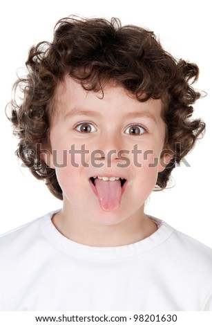 Funny child mocking isolated on white background - stock photo