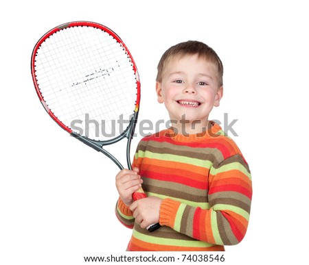 Funny child with a tennis racket isolated on white background - stock photo