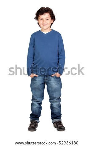 Funny child with blue shirt isolated on white background - stock photo