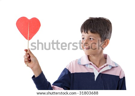 Funny child with lollipop with heart-shaped isolated on white