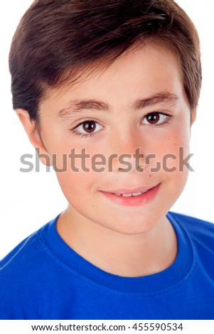 Funny child with ten years old and blue t-shirt looking at camera isolated on a white background