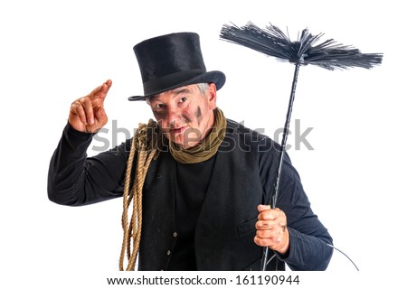 Funny chimney sweep greeting with his top hat - stock photo