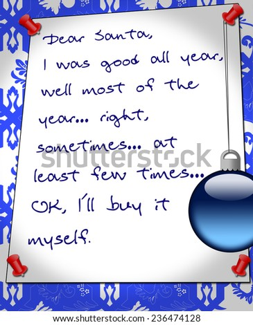 funny Christmas notice for Santa - stock photo