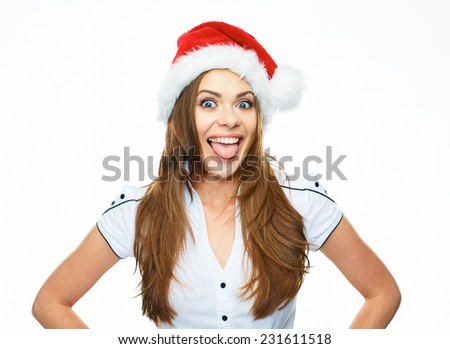 Funny Christmas Santa girl white background isolated portrait. Smiling woman white shirt dressed.
