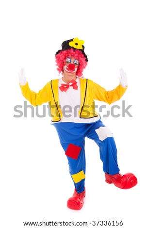 funny circus clown dancing (isolated on white) - stock photo