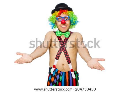 Funny clown isolated on the white background - stock photo
