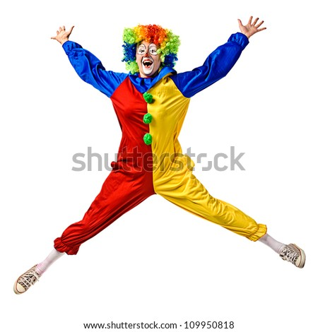 Funny clown jumping. Isolated over a white background - stock photo
