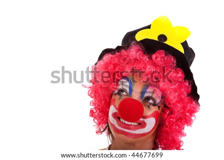 funny clown looking to the copy space (isolated on white) - stock photo